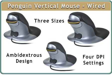 Penguin Ambidextrous Vertical Mouse, Wired