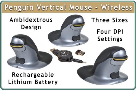 Penguin Ambidextrous Vertical Mouse, Wireless